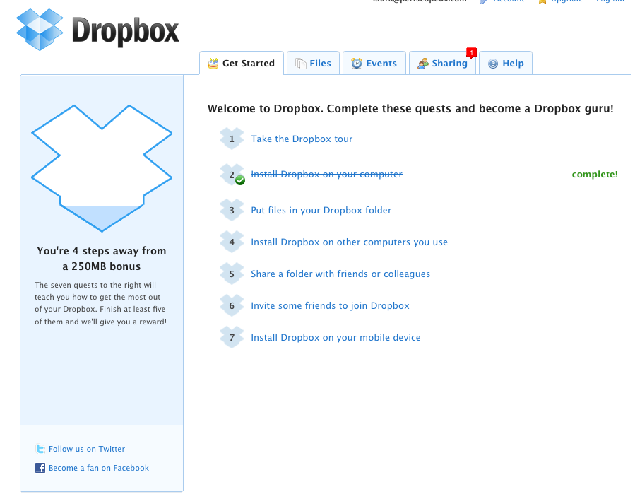 Dropbox-gamification